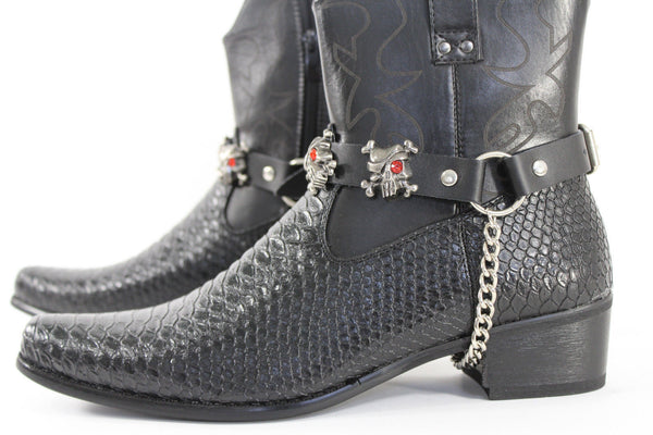 Fashionable Biker Western Boots Bracelets Chain Black Leather 2 Straps Silver Skull Skeleton - alwaystyle4you - 7