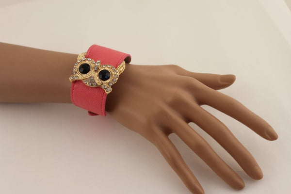 Aqua Blue / Pink / Light Pink / Black Faux Leather Strap Nude Bracelet Gold Metal Owl Head Black Rhinestone Fashion New Women Jewelry Accessories - alwaystyle4you - 21