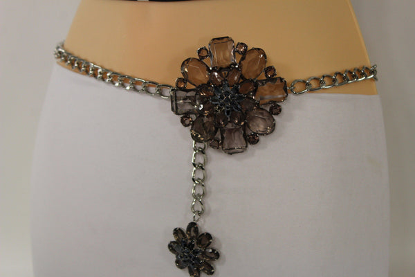 Clear Silver / Blue Silver / Brown Silver / Light Pink Silver Hip Waist Silver Metal Chain Belt Big Flower Buckle New Women Fashion Accessories XS To XL - alwaystyle4you - 34
