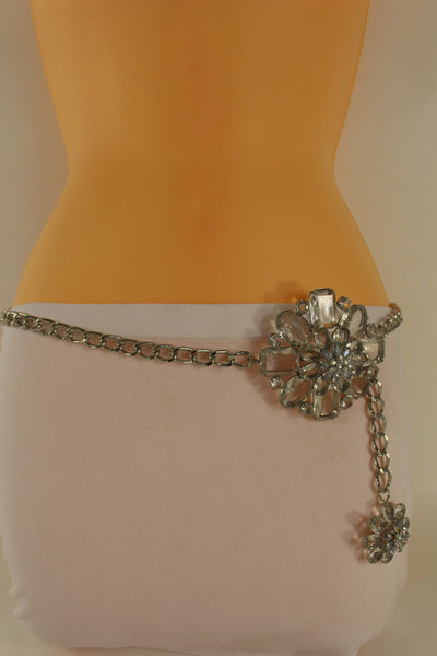 Clear Silver / Blue Silver / Brown Silver / Light Pink Silver Hip Waist Silver Metal Chain Belt Big Flower Buckle New Women Fashion Accessories XS To XL - alwaystyle4you - 1