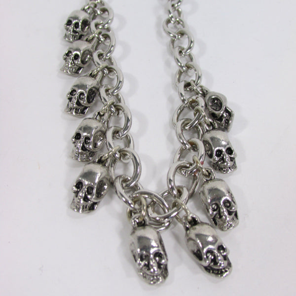 Silver Metal Boot Chain Bracelet Strap Shoe Mini Skull Charm Bling New Women Punk Biker Fashion - alwaystyle4you - 5