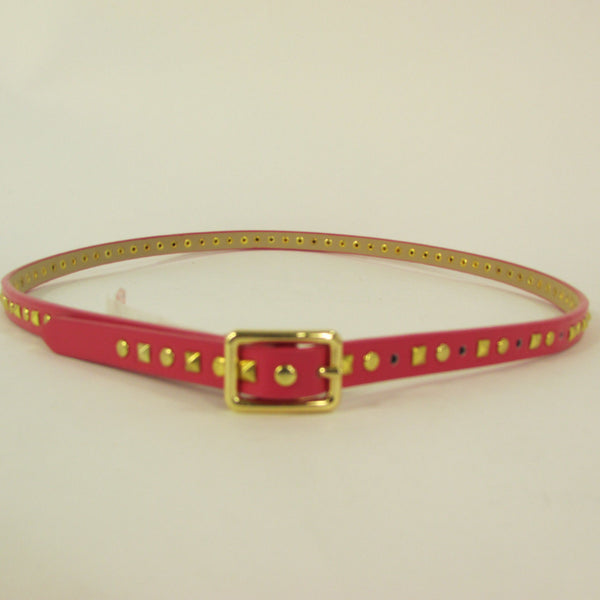 Pink Skinny Narrow Classic Belt Gold Studs Banana Republic New Women Fashion Accessories  XS S M L - alwaystyle4you - 5