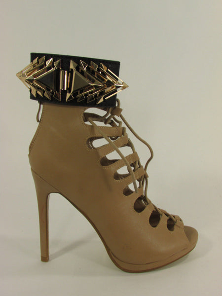 Gold Metal Spikes Boot Anklet Chain Bracelet Black Faux Leather Straps One Strap Shoe Women - alwaystyle4you - 5