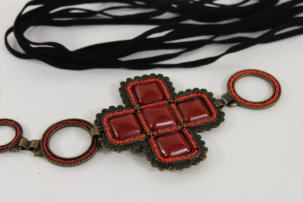 Red / Brown Hip Waist Metal Chain Belt Big Metal - Flower Charm Buckle New Women Fashion Accessories M L - alwaystyle4you - 5
