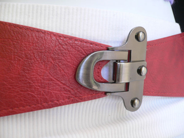 Red Black Gray Dark Brown Faux Leather Elastic Waist Hip Belt Silver Metal Hook Buckle Women Accessories S M