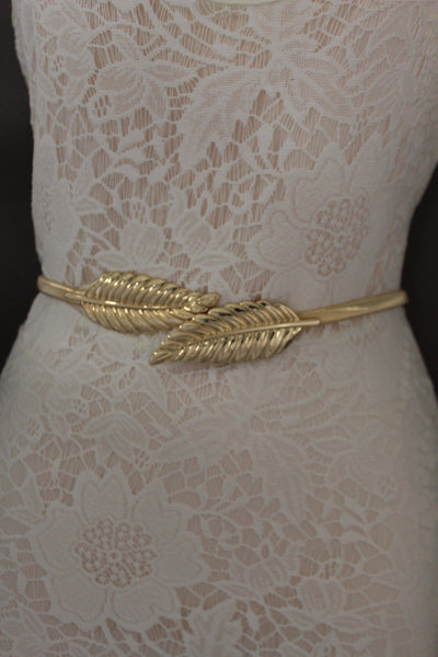 Gold / Silver Metal Hip High Waist Elastic Belt Two Fall Leaves Buckle New Women Fashion Accessories S M L - alwaystyle4you - 9