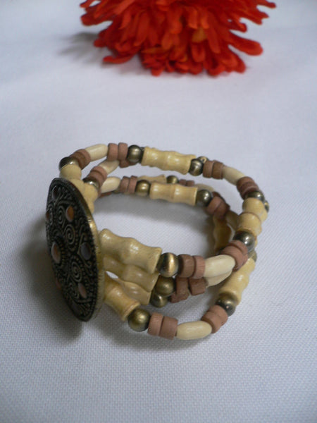 Beige Brown Wood Cream / Brown Bracelet Gold Dots Beads Native Style Fashion New Women Jewelry Accessories - alwaystyle4you - 24
