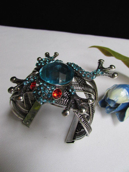 Silver Metal Cuff Bracelet Big Frog Black/Blue/ White Rhinestone Beads Red Eye New Women Fashion Jewelry Accessories - alwaystyle4you - 8