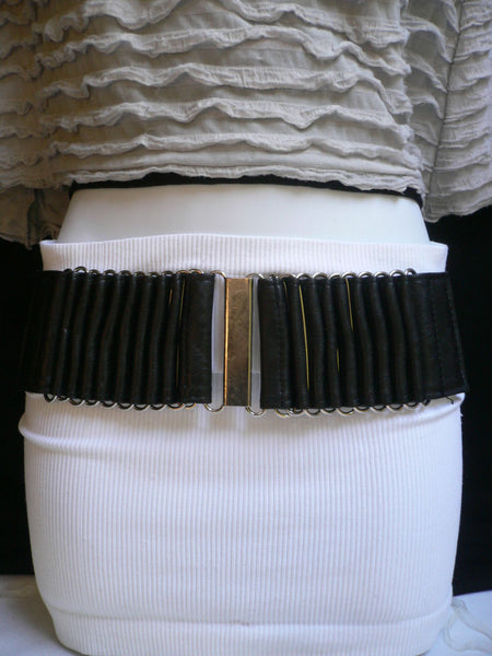 Beige Black Gray Brown Wide Waist Hip Belt Silver Metal Buckle New Women Fashion Accessories XS S M - alwaystyle4you - 25