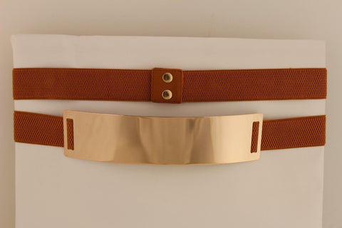 Light Brown (Mocha) / Dark Navy / Royal Blue / Gold Yellow / Black /Red / White Elastic Stretch Back High Waist Hip Belt Gold Metal Mirror Plate New Women Fashion Accessories Plus Size - alwaystyle4you - 1