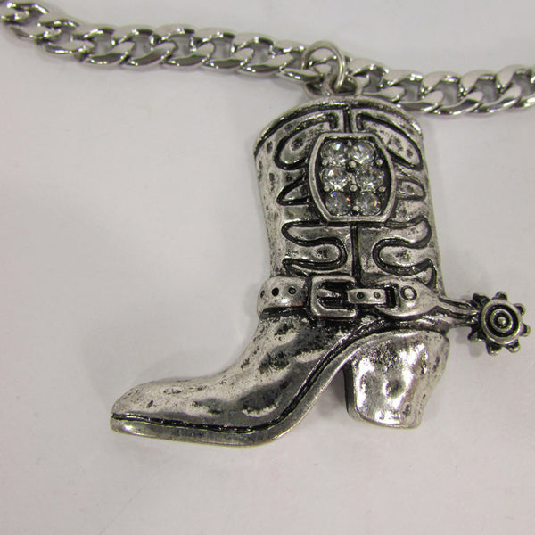 Turquoise / Silver Metal Western Shoe Bling Anklet Charm Boot Chain Bracelet New Women Cowboy Rodeo Fashion - alwaystyle4you - 17