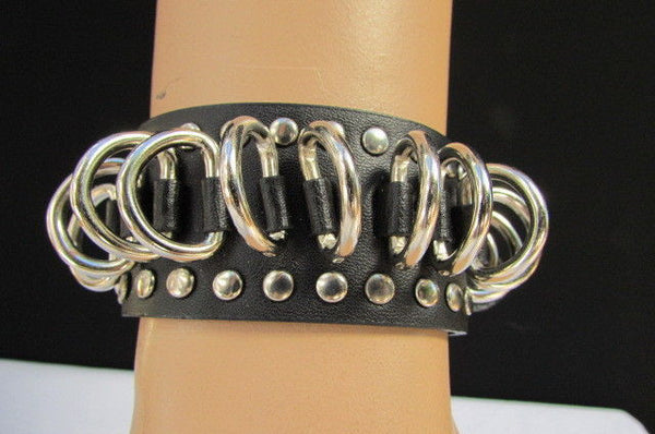 Black Faux Leather Silver Metal Rings Bracelet Biker Rocker Punk Style Men Fashion Jewelry