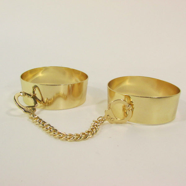 Gold Metal Plate Handcuffs Chain 2 Connected Bracelets Bangles New Women Fashion Jewelry Accessories - alwaystyle4you - 6