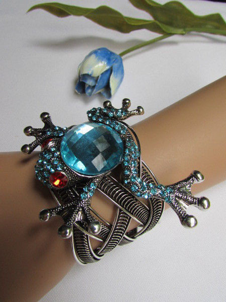 Silver Metal Cuff Bracelet Big Frog Black/Blue/ White Rhinestone Beads Red Eye New Women Fashion Jewelry Accessories - alwaystyle4you - 9