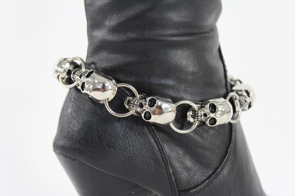 Silver Metal Boot Bracelet Chains Skulls Anklet Shoe Charm New Women Western style Fashion Jewelry - alwaystyle4you - 8