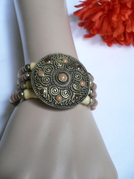 Beige Brown Wood Cream / Brown Bracelet Gold Dots Beads Native Style Fashion New Women Jewelry Accessories - alwaystyle4you - 25