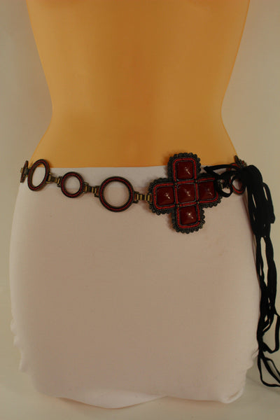 Red / Brown Hip Waist Metal Chain Belt Big Metal - Flower Charm Buckle New Women Fashion Accessories M L - alwaystyle4you - 6