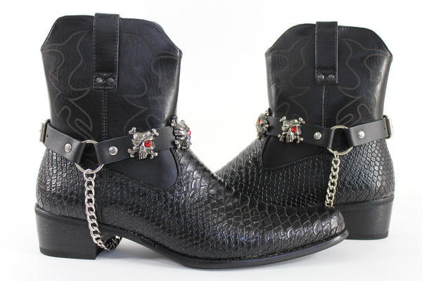 Fashionable Biker Western Boots Bracelets Chain Black Leather 2 Straps Silver Skull Skeleton - alwaystyle4you - 9