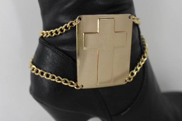 Gold Bling Metal Plate Big Cross Boots Chain Links Charm Bracelet New Women Western Fashion - alwaystyle4you - 13