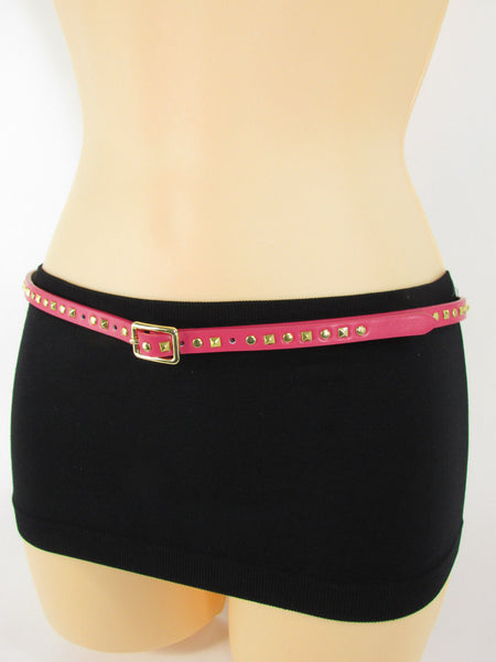 Pink Skinny Narrow Classic Belt Gold Studs Banana Republic New Women Fashion Accessories  XS S M L - alwaystyle4you - 6
