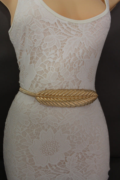 Gold / Silver Metal Hip High Waist Band Elastic Stretch Narrow Sexy Belt Long Leaf Buckle New Women Fashion Accessories S M L - alwaystyle4you - 8