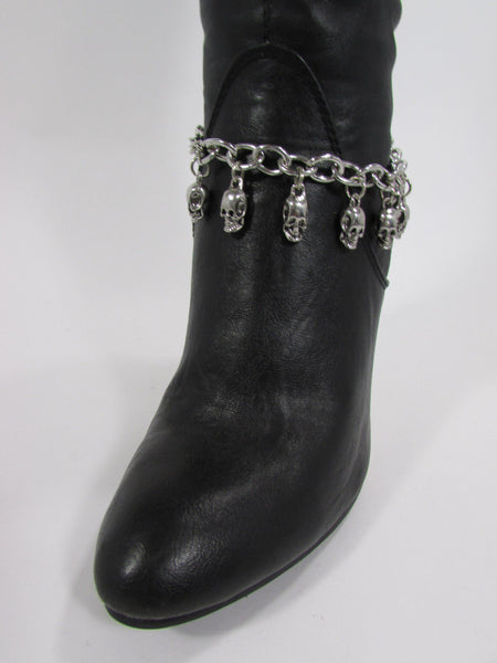 Silver Metal Boot Chain Bracelet Strap Shoe Mini Skull Charm Bling New Women Punk Biker Fashion - alwaystyle4you - 6
