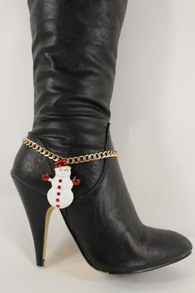 Gold Metal Boot Chain Bracelet White Snow Man Shoe Christmas Charm Women New Fashion Accessories - alwaystyle4you - 6