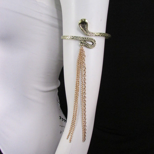 Silver / Gold Metal Arm Cuff Bracelet Cobra Snake Multi Chains New Women Fashion - alwaystyle4you - 7