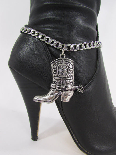 Turquoise / Silver Metal Western Shoe Bling Anklet Charm Boot Chain Bracelet New Women Cowboy Rodeo Fashion - alwaystyle4you - 13