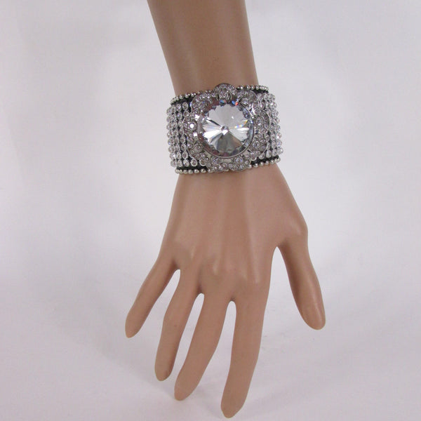 Silver Crystals Large Flower Black Leather Multi Rhinestone Bracelet New Women Fashion Jewelry Accessories - alwaystyle4you - 4