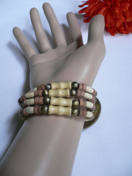 Beige Brown Wood Cream / Brown Bracelet Gold Dots Beads Native Style Fashion New Women Jewelry Accessories - alwaystyle4you - 26