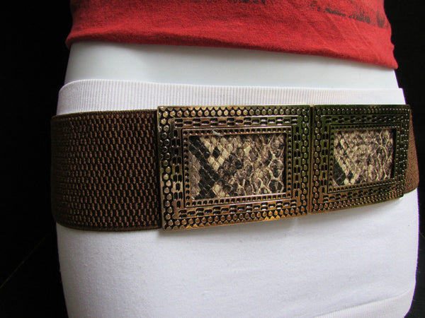 Black / Brown Hip Waist Stretch Belt Snake Print Moroccan Buckle Style Women Fashion Accessories Size S  M - alwaystyle4you - 19