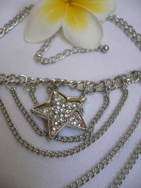 Gold / Silver Boot Big Star Multi Trendy Chain Silver Rhinestones Western Style - alwaystyle4you - 4