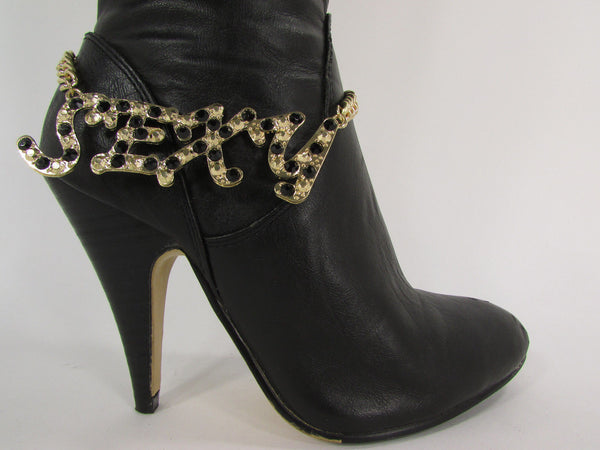 Gold Metal Boots Chain Bracelet Strap SEXY Shoe Charm Rhinestone New Women Fashion Accessories - alwaystyle4you - 9