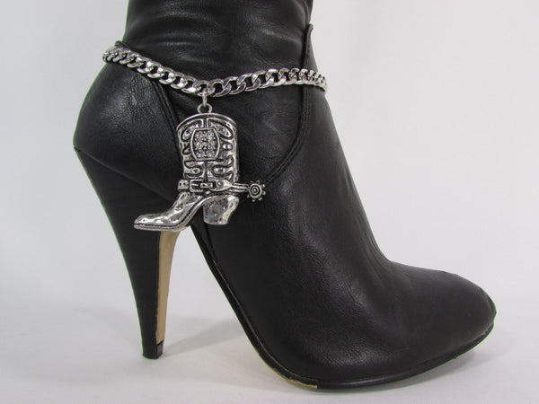 Turquoise / Silver Metal Western Shoe Bling Anklet Charm Boot Chain Bracelet New Women Cowboy Rodeo Fashion - alwaystyle4you - 19