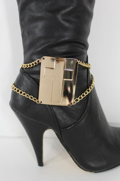 Gold Bling Metal Plate Big Cross Boots Chain Links Charm Bracelet New Women Western Fashion - alwaystyle4you - 6
