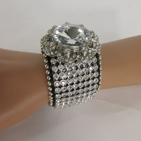 Silver Crystals Large Flower Black Leather Multi Rhinestone Bracelet New Women Fashion Jewelry Accessories - alwaystyle4you - 10