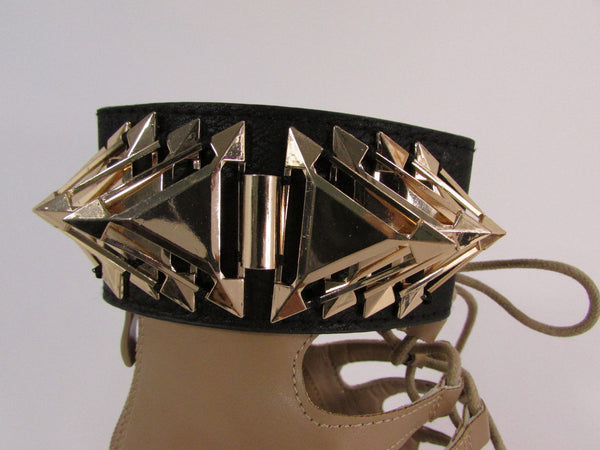 Gold Metal Spikes Boot Anklet Chain Bracelet Black Faux Leather Straps One Strap Shoe Women - alwaystyle4you - 7