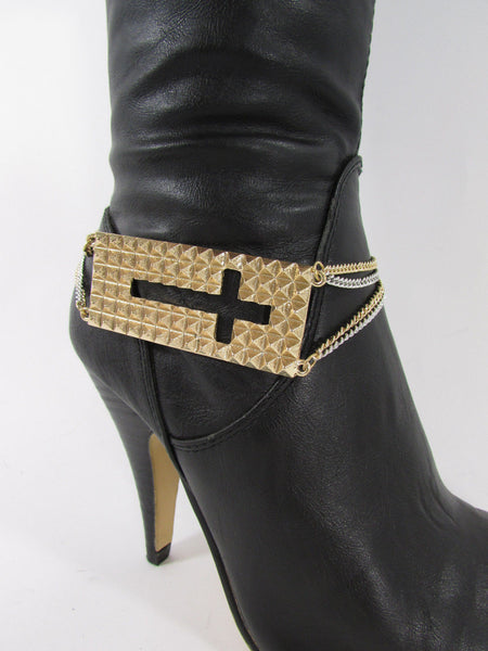 Gold / Pewter Metal Plate Cross Hollow Charm Links Boot Chain Bracelet New Women Fashion - alwaystyle4you - 6