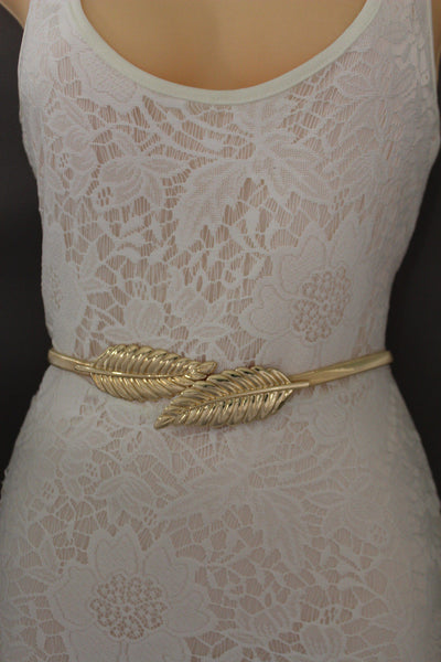 Gold / Silver Metal Hip High Waist Elastic Belt Two Fall Leaves Buckle New Women Fashion Accessories S M L - alwaystyle4you - 11