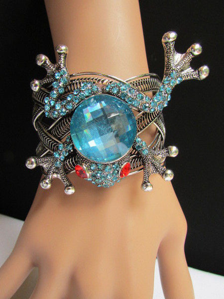 Silver Metal Cuff Bracelet Big Frog Black/Blue/ White Rhinestone Beads Red Eye New Women Fashion Jewelry Accessories - alwaystyle4you - 5