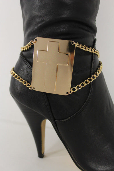 Gold Bling Metal Plate Big Cross Boots Chain Links Charm Bracelet New Women Western Fashion - alwaystyle4you - 7