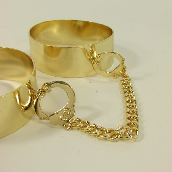 Gold Metal Plate Handcuffs Chain 2 Connected Bracelets Bangles New Women Fashion Jewelry Accessories - alwaystyle4you - 8