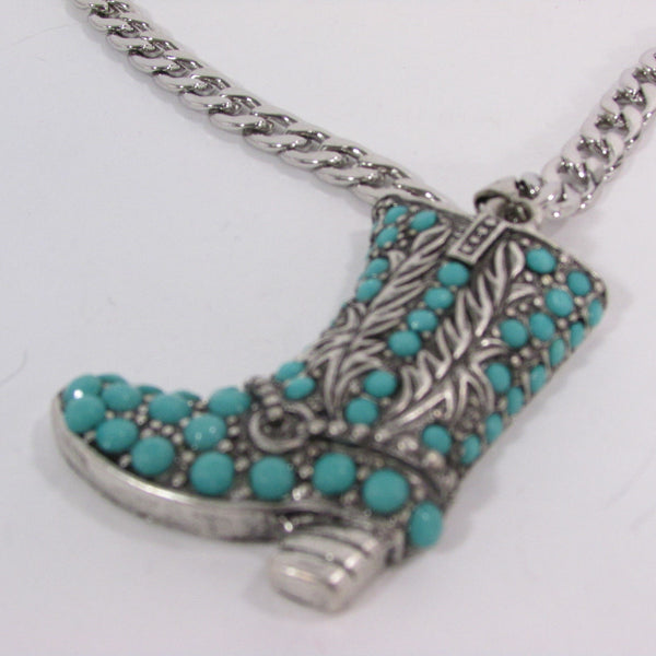 Turquoise / Silver Metal Western Shoe Bling Anklet Charm Boot Chain Bracelet New Women Cowboy Rodeo Fashion - alwaystyle4you - 8