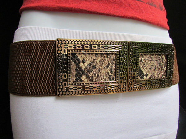 Black / Brown Hip Waist Stretch Belt Snake Print Moroccan Buckle Style Women Fashion Accessories Size S  M - alwaystyle4you - 20