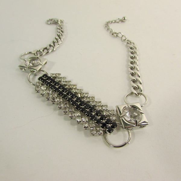 Silver Metal Boot Chain Bracelet Strap Shoe Charm Black Rhinestone Women New Fashion Accessories - alwaystyle4you - 12