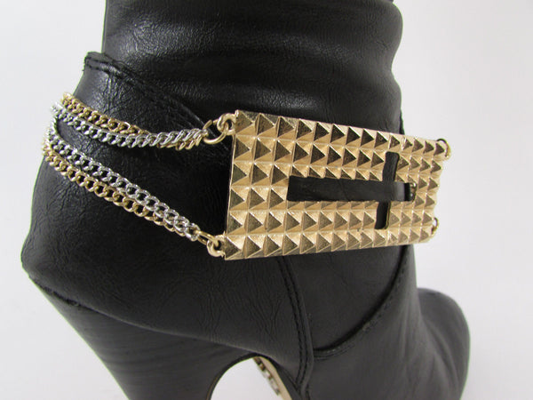 Gold / Pewter Metal Plate Cross Hollow Charm Links Boot Chain Bracelet New Women Fashion - alwaystyle4you - 7