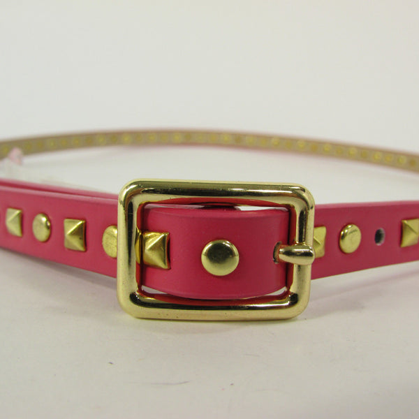 Pink Skinny Narrow Classic Belt Gold Studs Banana Republic New Women Fashion Accessories  XS S M L - alwaystyle4you - 8