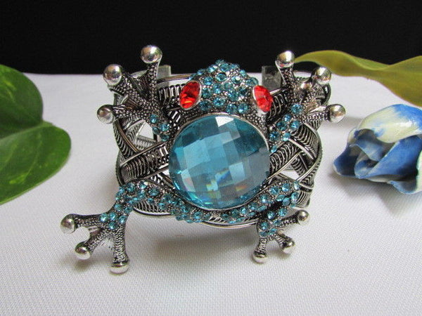 Silver Metal Cuff Bracelet Big Frog Black/Blue/ White Rhinestone Beads Red Eye New Women Fashion Jewelry Accessories - alwaystyle4you - 7