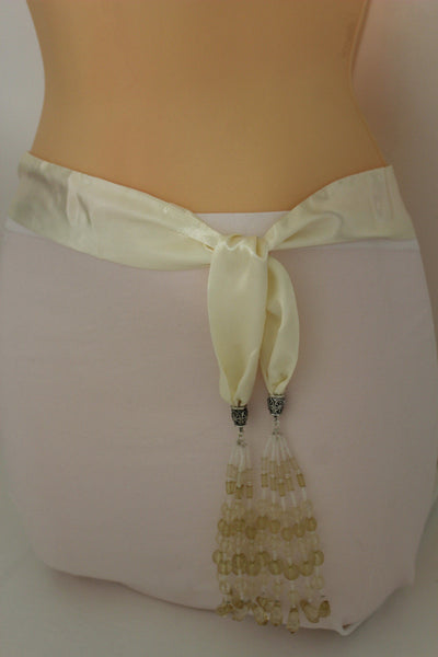 Cream - Off White / Light Purple / Green Long Tie Fringe Beads Hip Waist Belt Scarf New Women Fashion Accessories - alwaystyle4you - 10